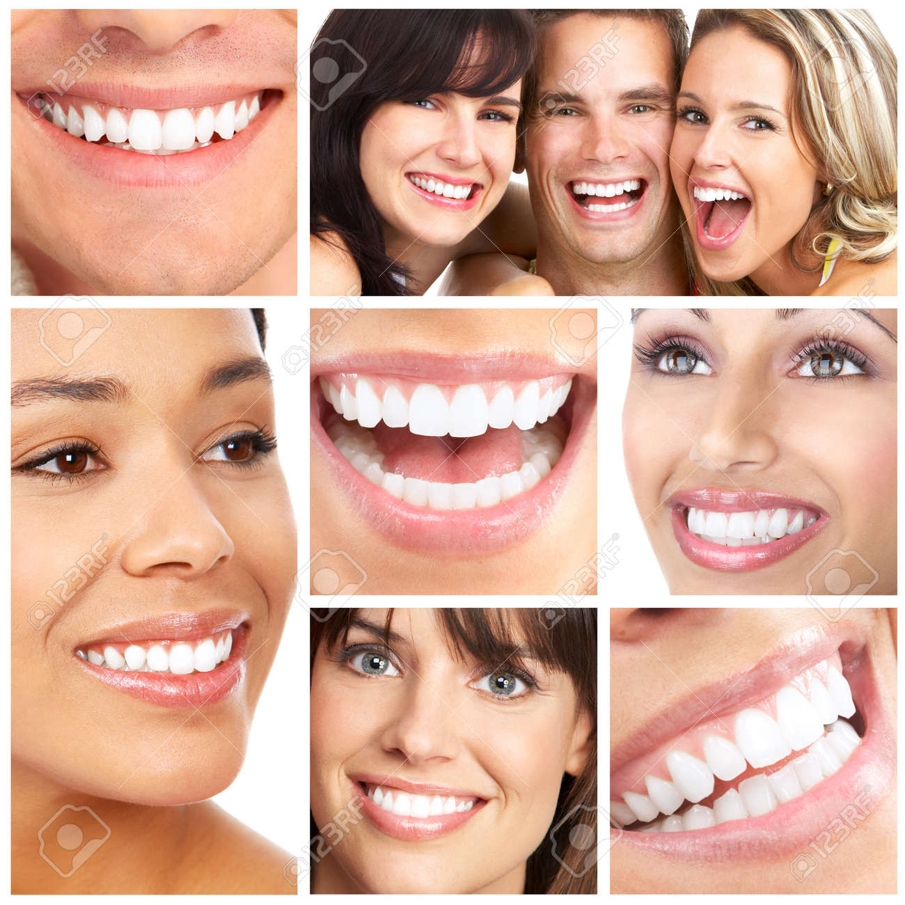 Faces of smiling people. Teeth care. Smile Stock Photo - 8592077