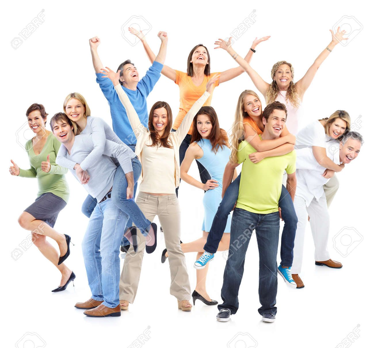 Happy funny people. Isolated over white background Stock Photo - 8592064
