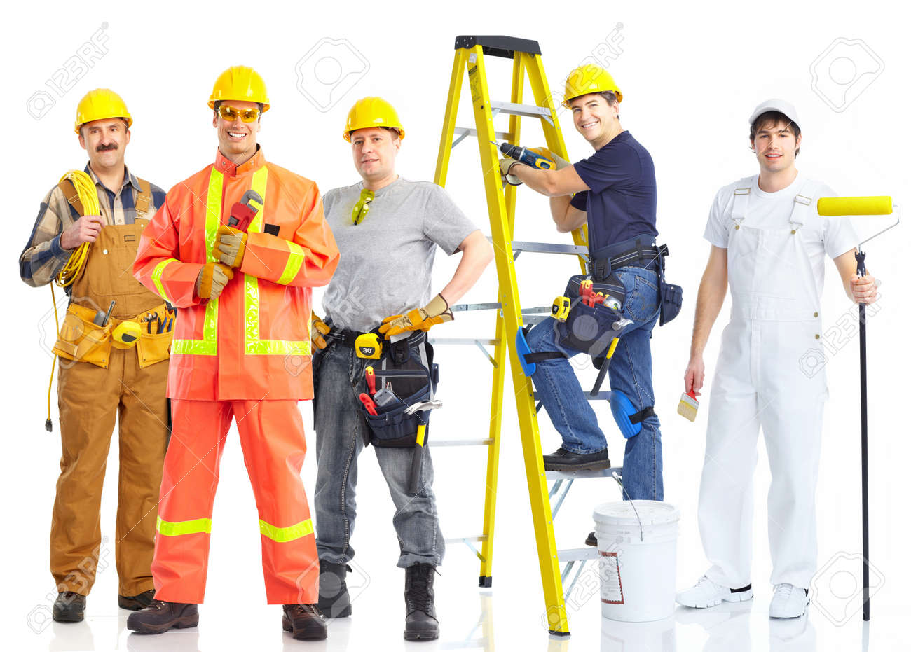 contractors workers people. Isolated over white background Stock Photo - 8617133