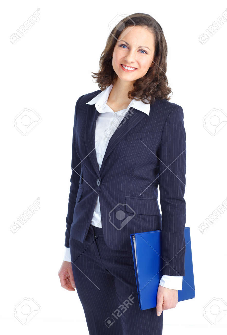 Smiling business woman. Isolated over white background Stock Photo - 8736311