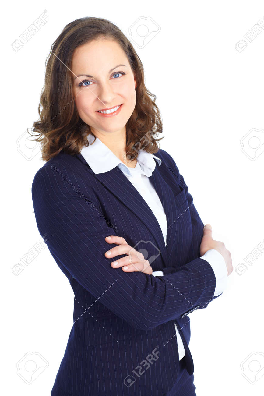 Smiling business woman. Isolated over white background Stock Photo - 8736314