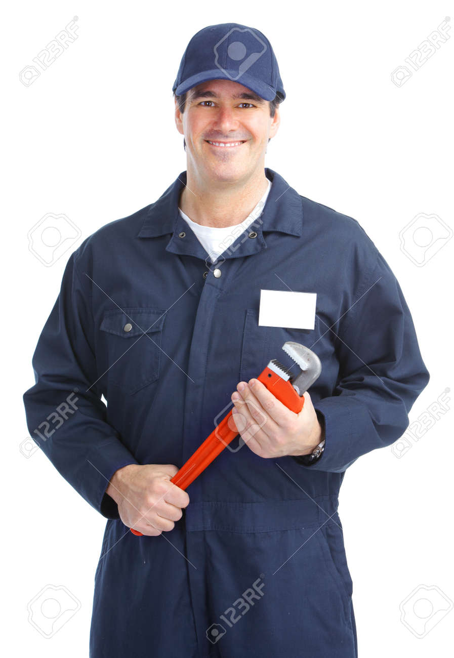 Mature handsome plumber worker with adjustable wrench. Isolated over white background Stock Photo - 8738304