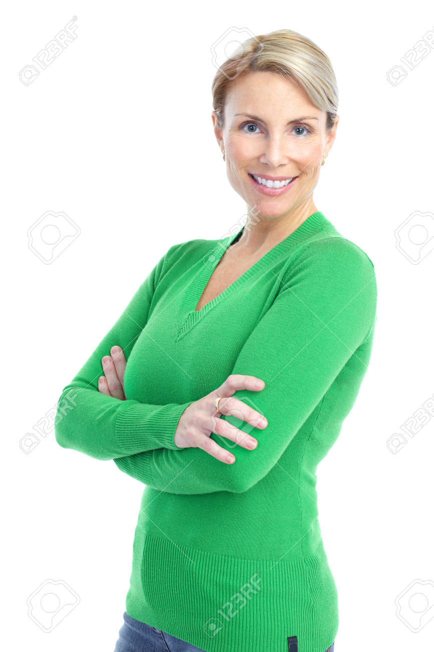 Beautiful smiling woman. Isolated over white background Stock Photo - 8738323