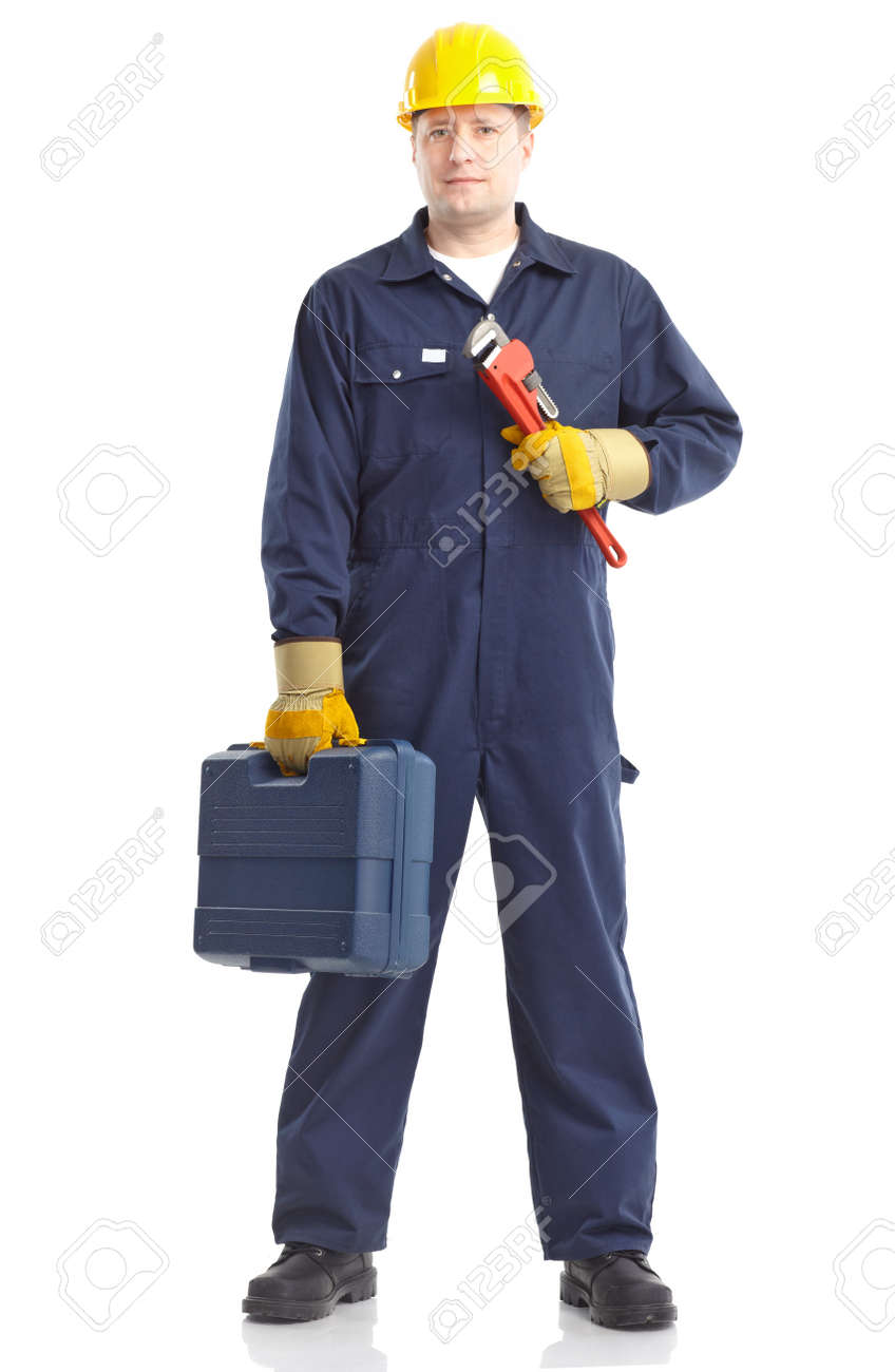Young handsome plumber worker with adjustable wrench. Isolated over white background Stock Photo - 8856739