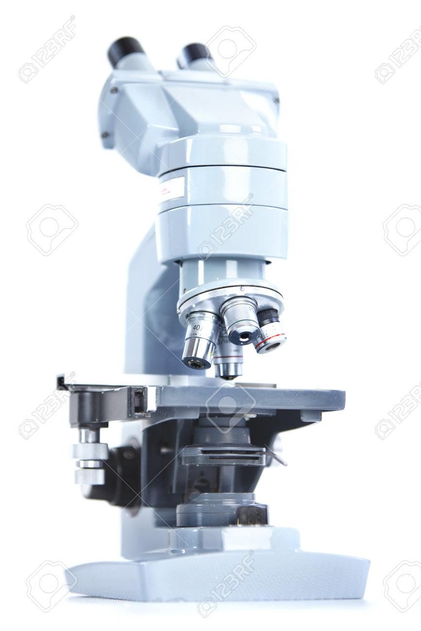 Laboratory microscope. Over white background Stock Photo - 8856737