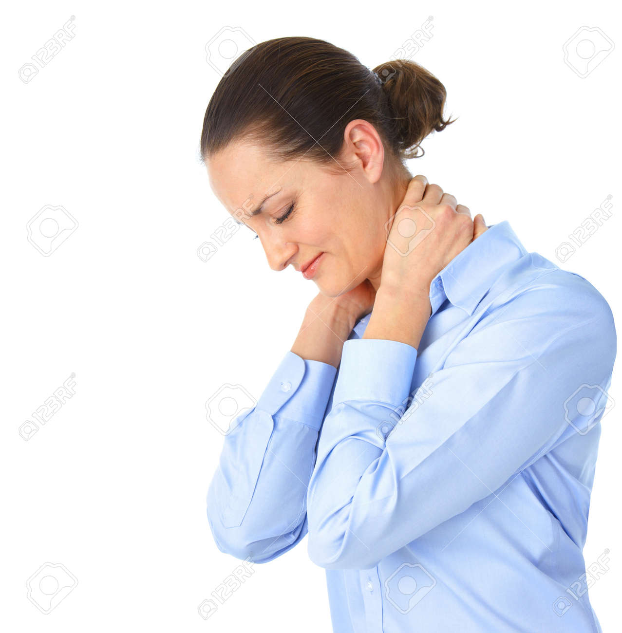 Sick young woman. Neck pain Stock Photo - 8863741