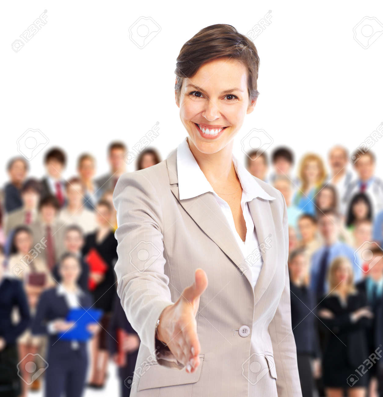 Human resources. Businesswoman and a large group of business people. Stock Photo - 8863902