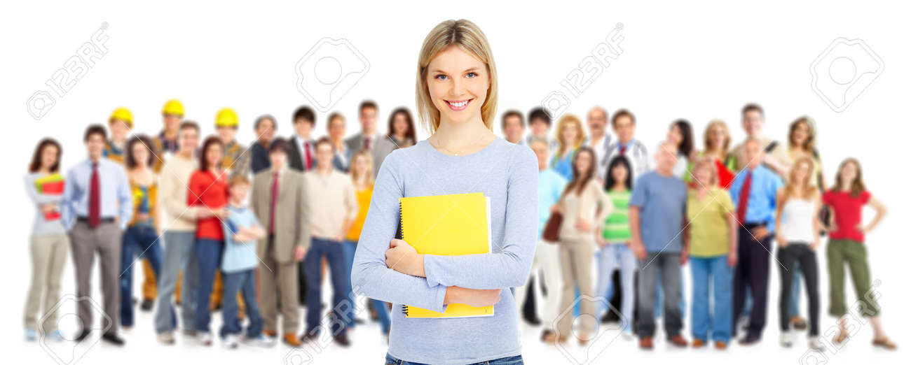 Large group of smiling  students. Isolated over white background Stock Photo - 8863907