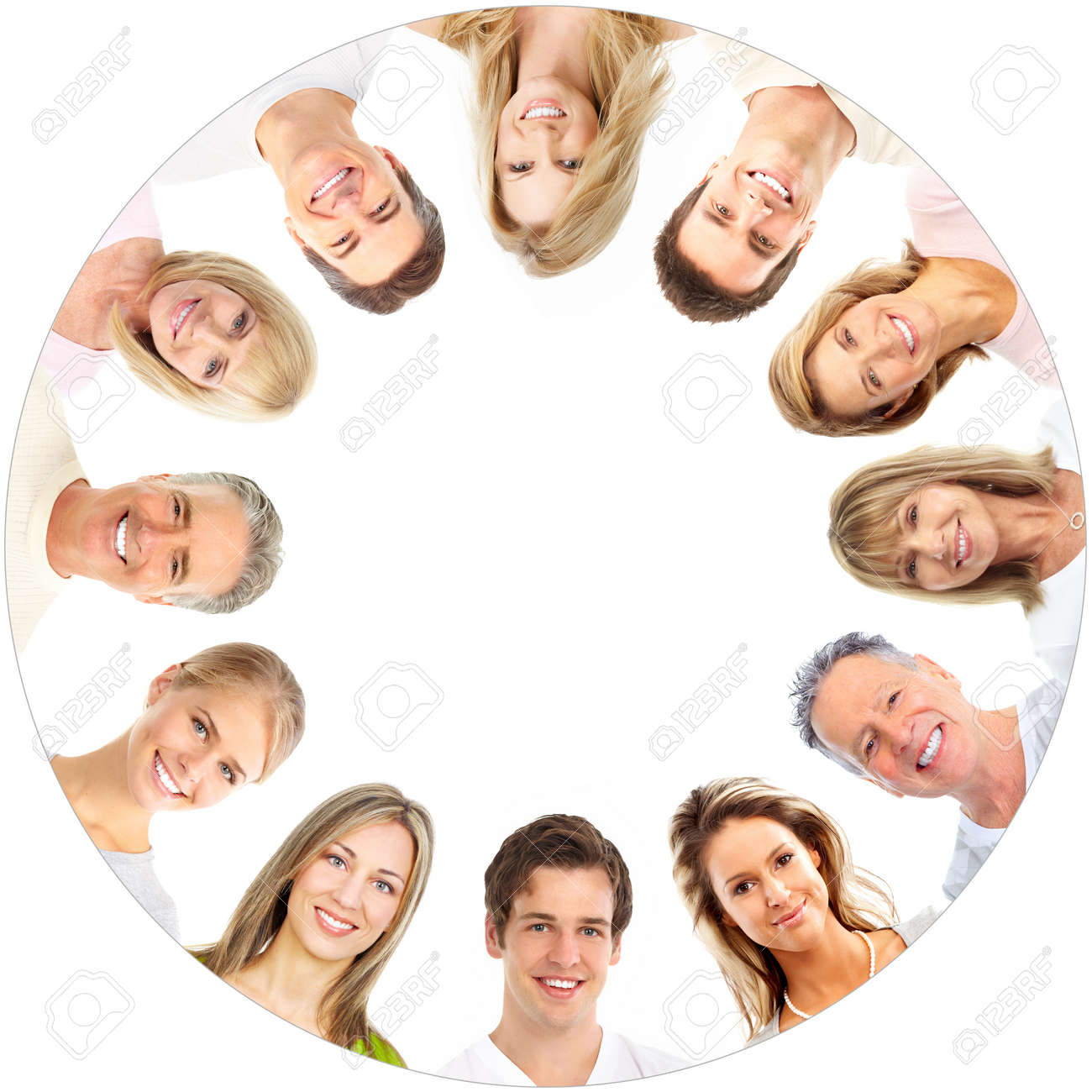 Faces of smiling people. Over white background Stock Photo - 8863910