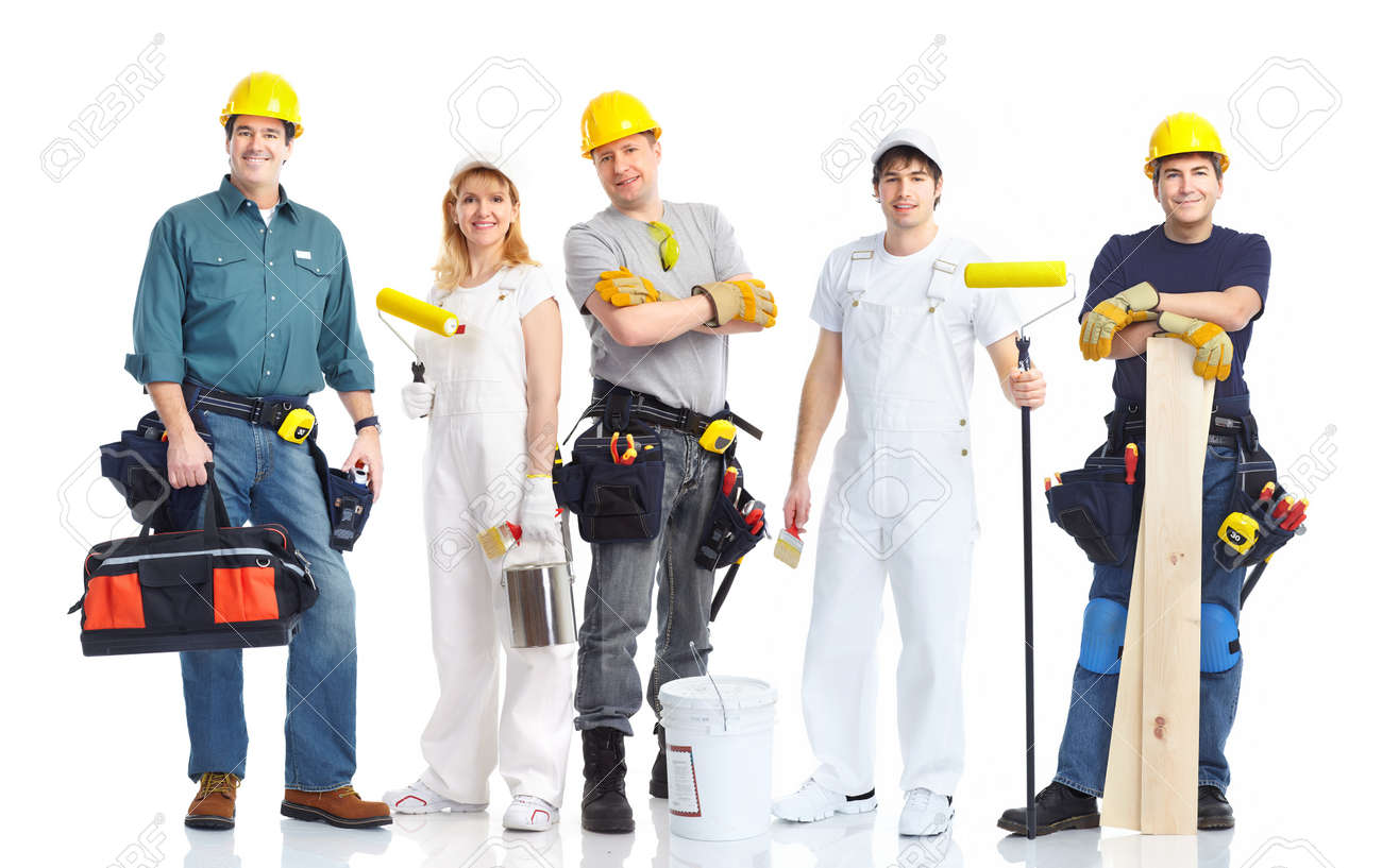 Industrial contractors workers people. Isolated over white background Stock Photo - 8863914