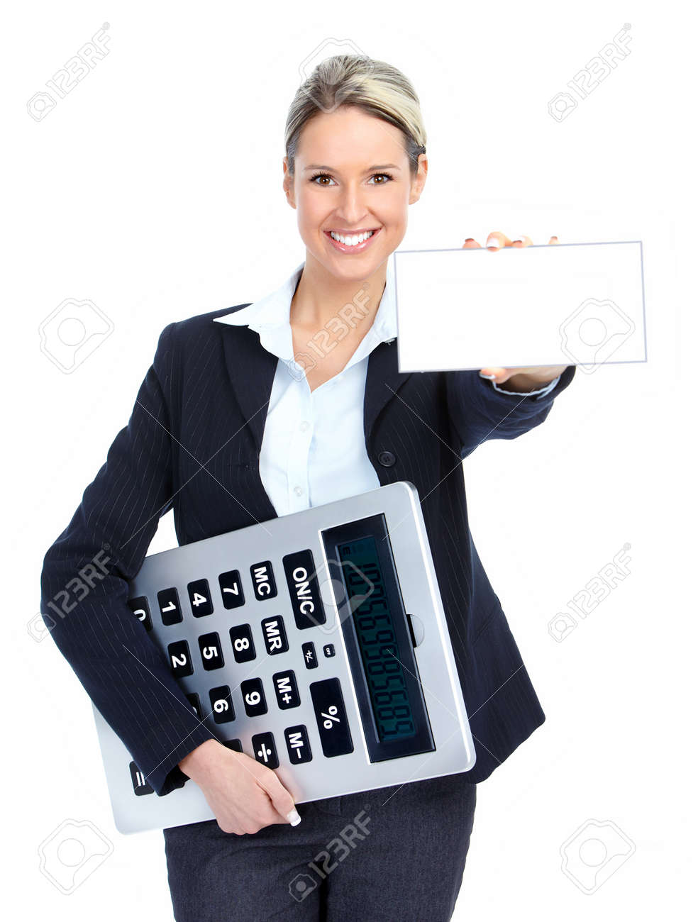 Accountant business woman with a big calculator.  Over white background Stock Photo - 8868146