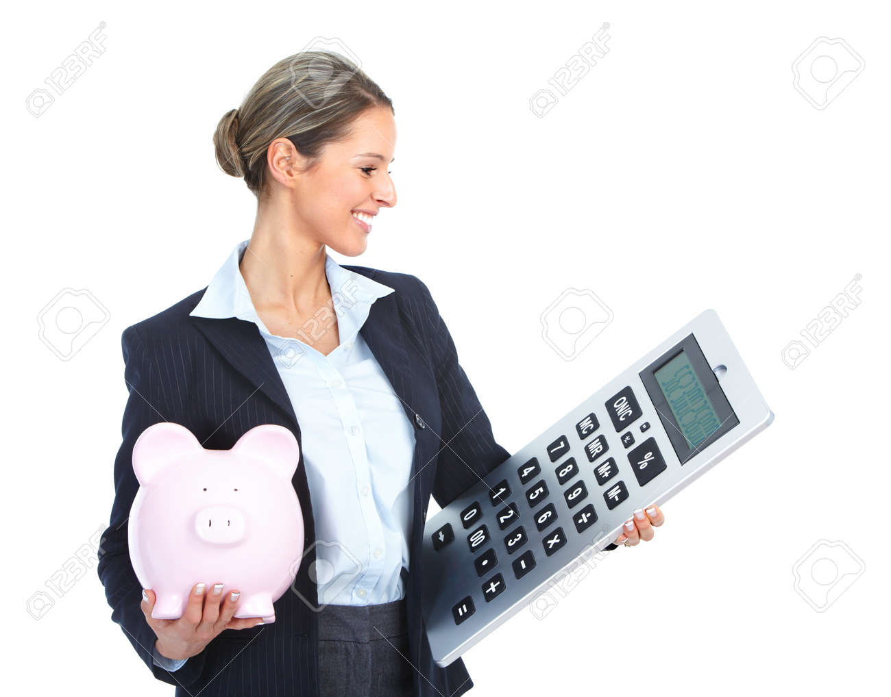 accountant business woman with a big calculator and a piggy