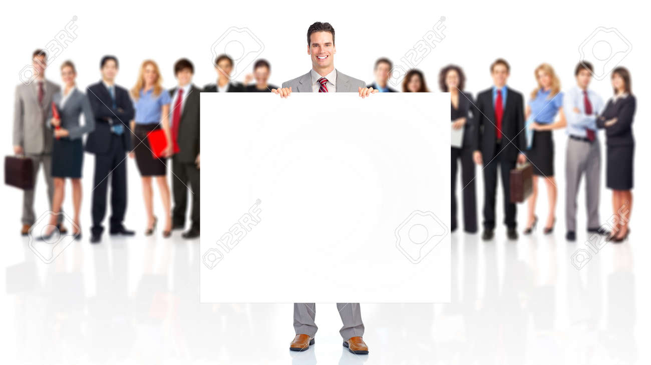 Large group of business people with poster. Stock Photo - 9109426