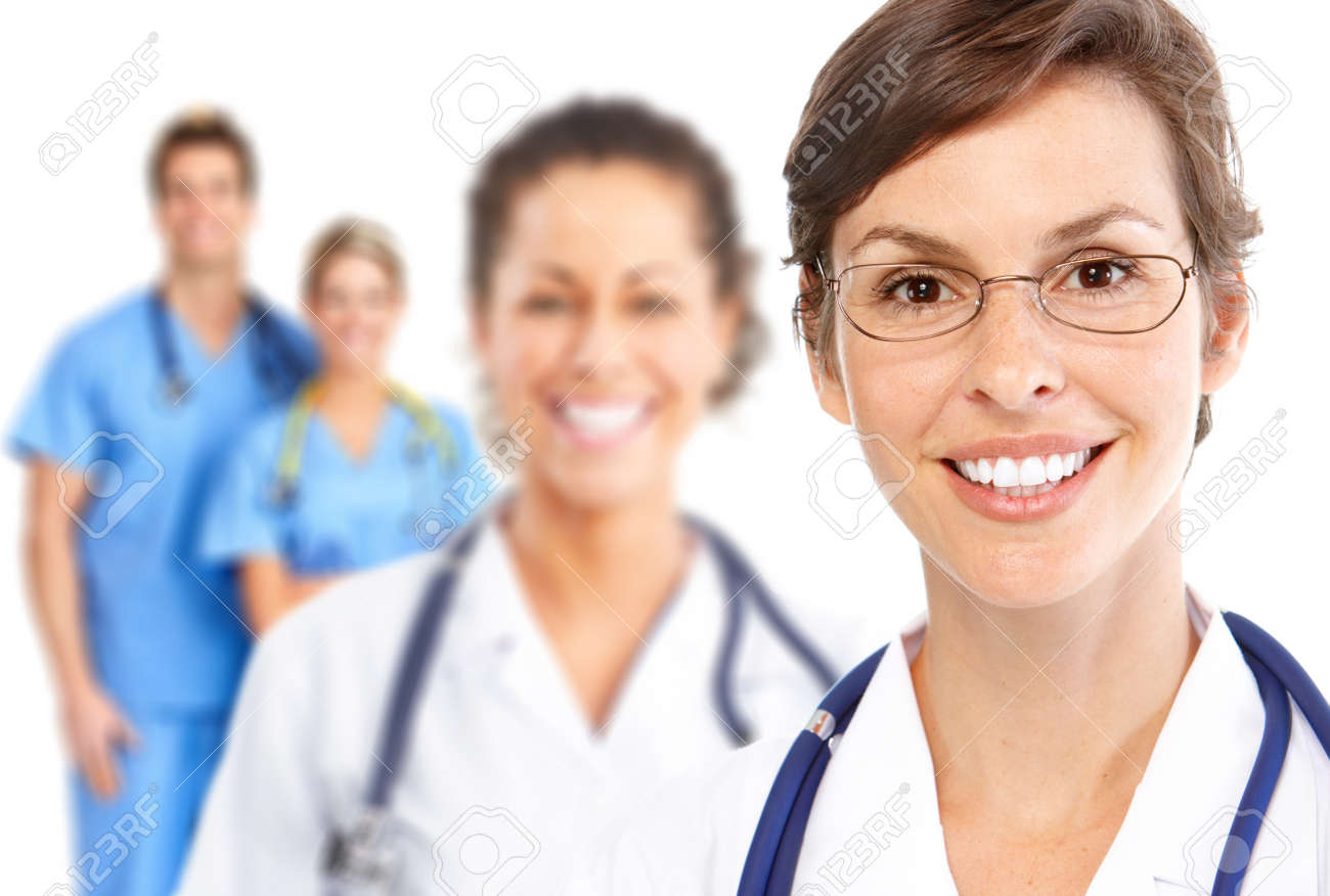 Doctor. Medical team.  Isolated over white background. Stock Photo - 9109403