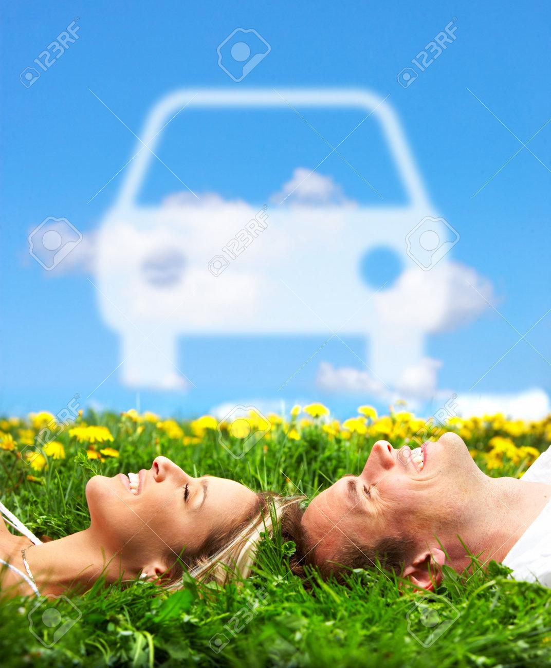Couple in love. Auto. Stock Photo - 9367310