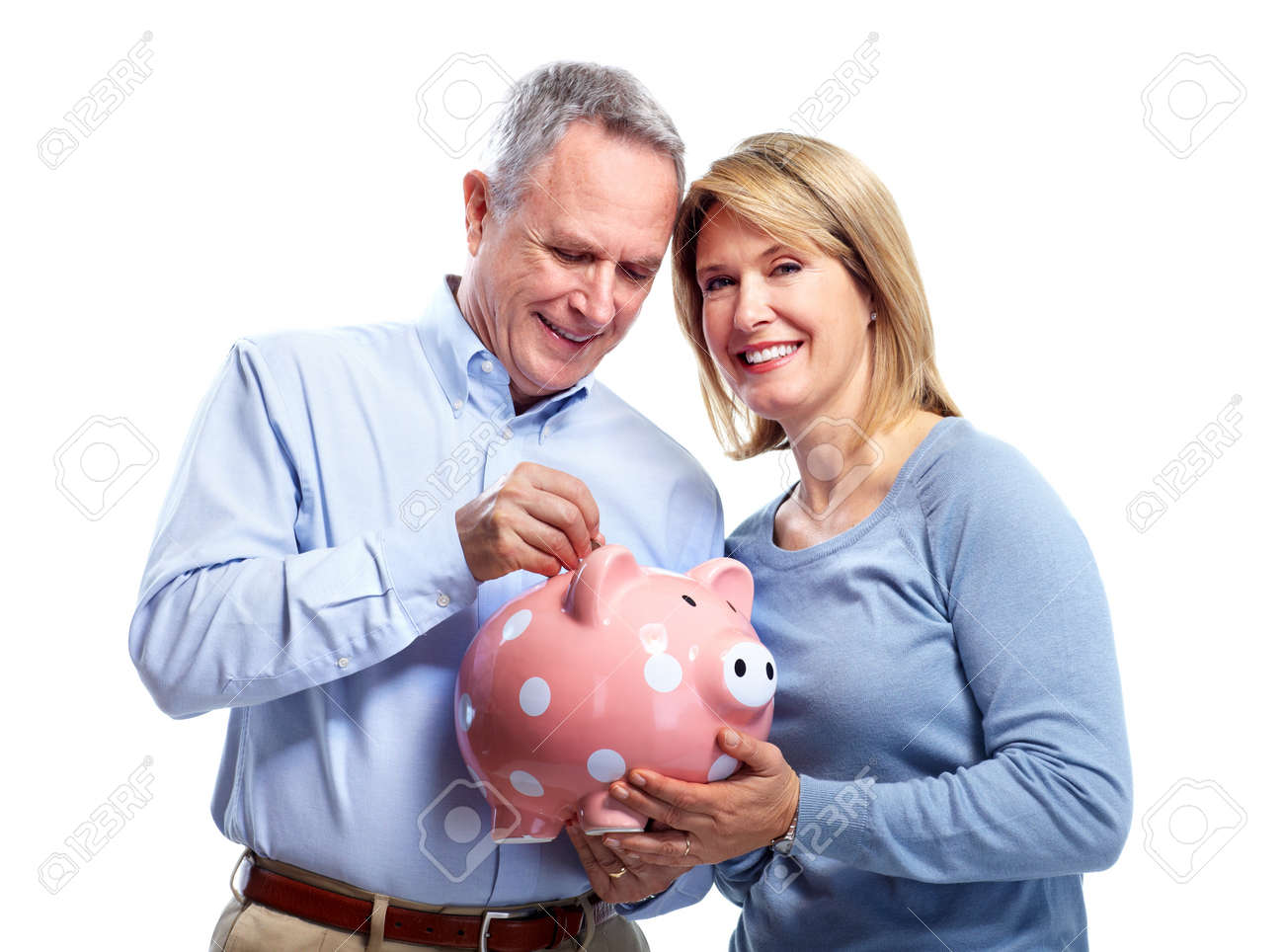 Couple with piggy bank. Stock Photo - 10857174