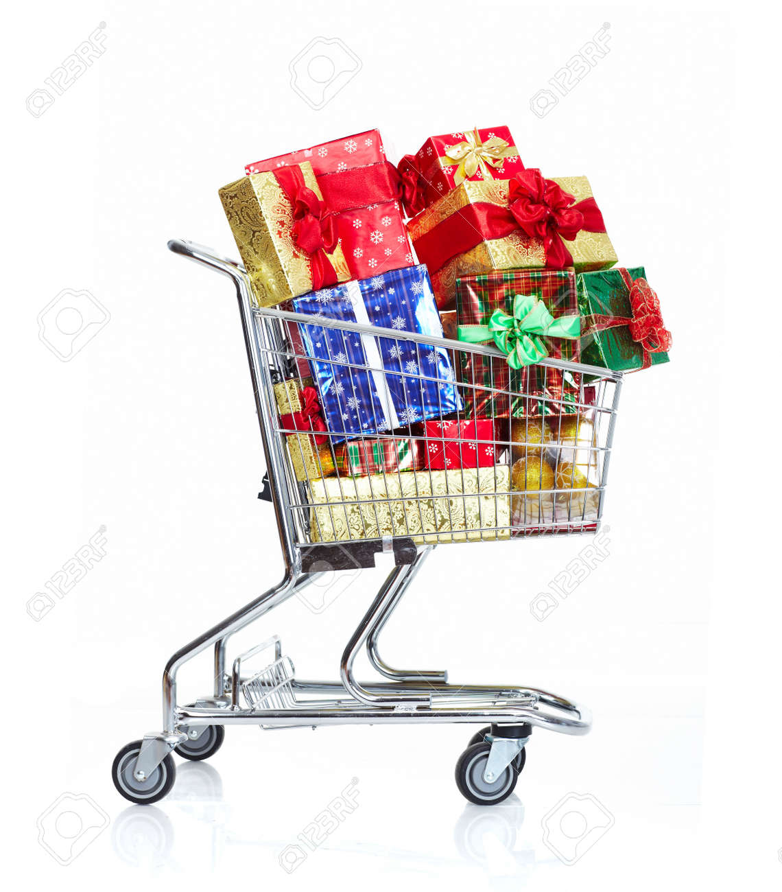 Christmas shopping cart with gifts. Stock Photo - 11081379