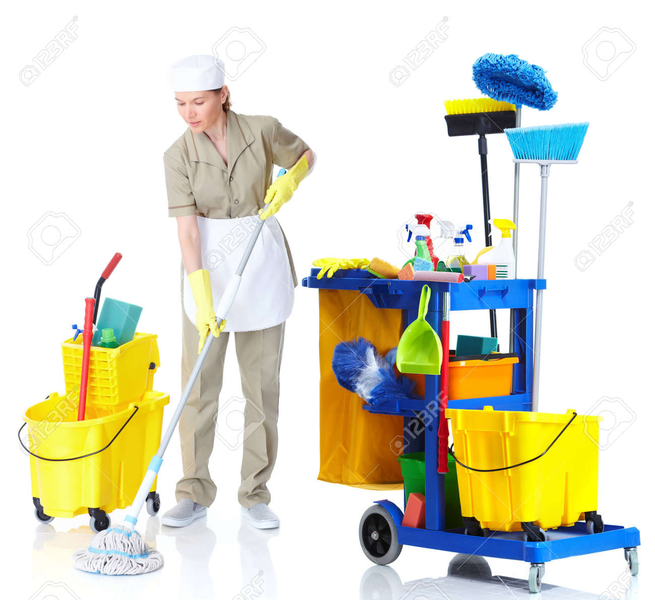 Cleaner maid woman washing the floor. Stock Photo - 11182316
