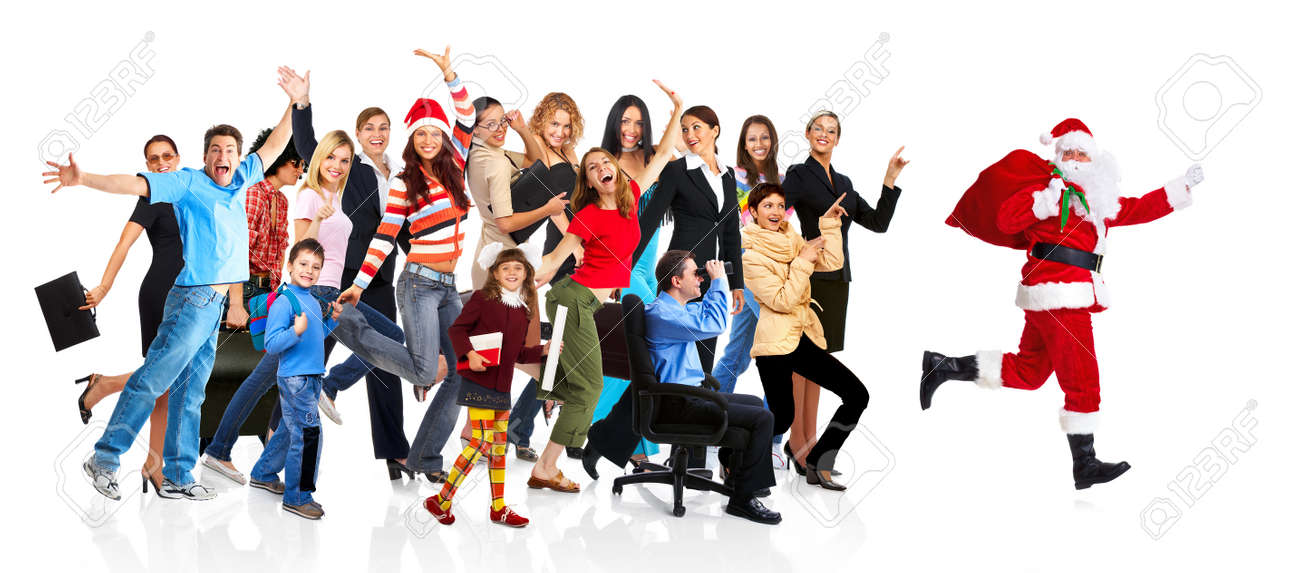 Running Santa and a group of happy people. Stock Photo - 11305250