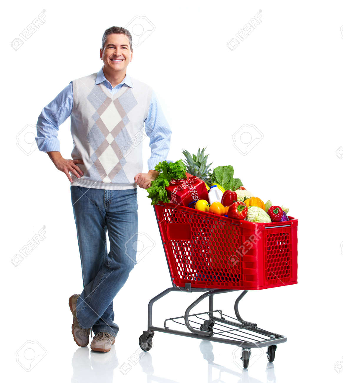 Man with a grocery shopping cart. Stock Photo - 11454569