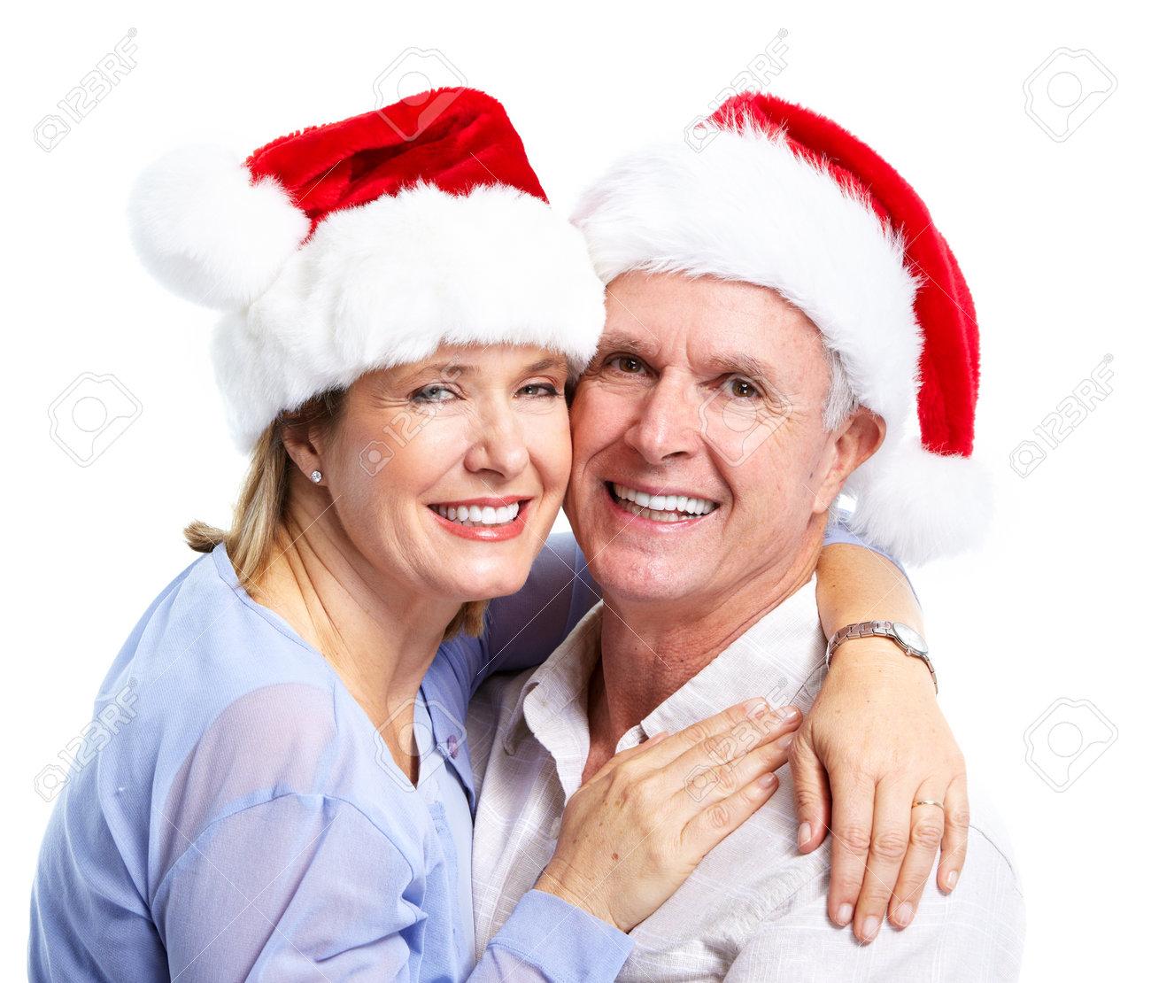 Happy senior Christmas Santa couple. Stock Photo - 11454583