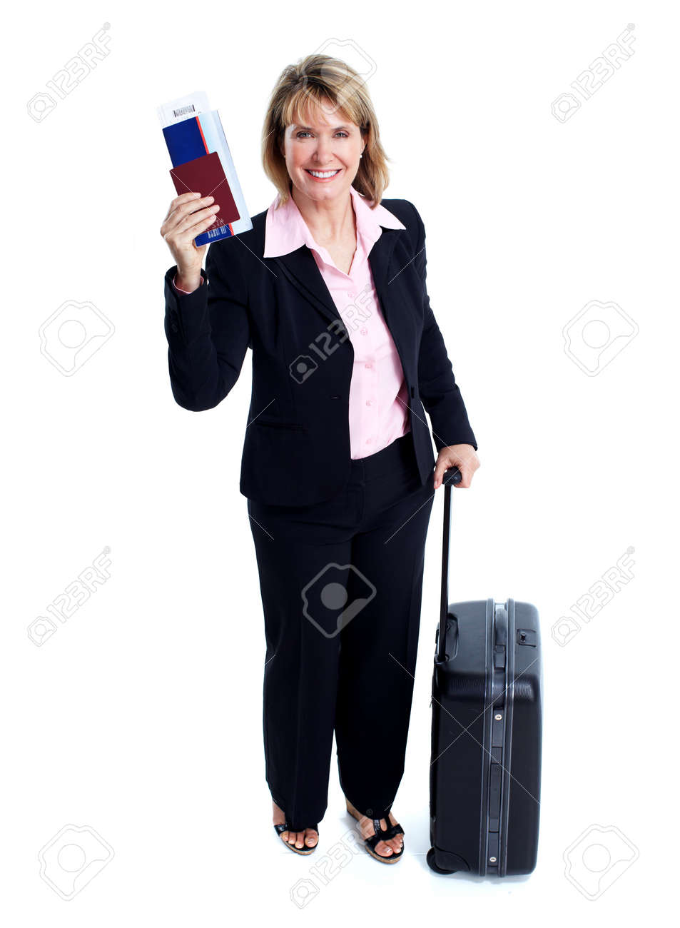 Smiling business woman with suitcase. Stock Photo - 11456432
