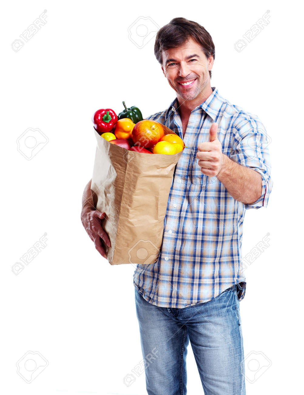 Man with a grocery bag. Stock Photo - 11478377