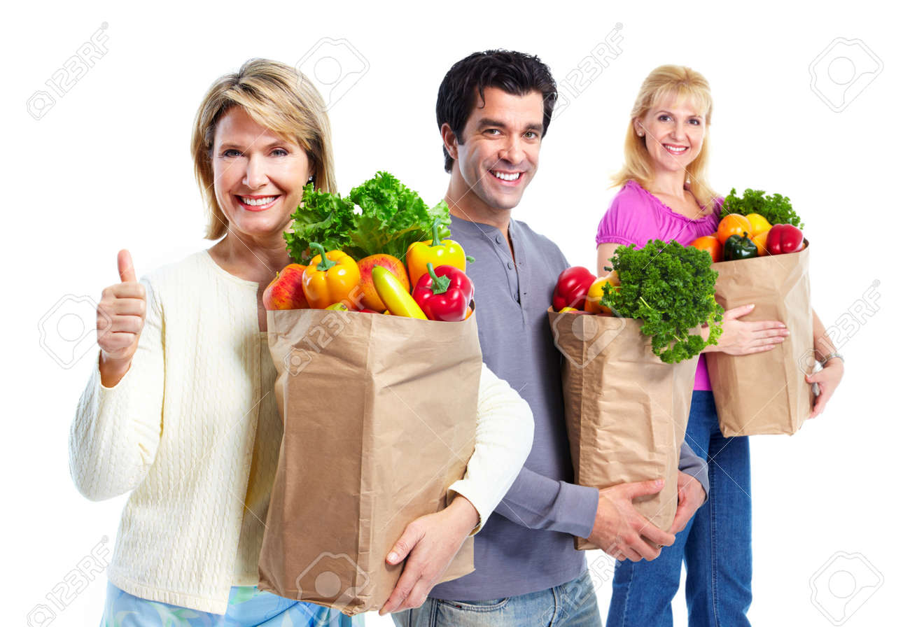 Happy people with a grocery shopping bag. Stock Photo - 11478651