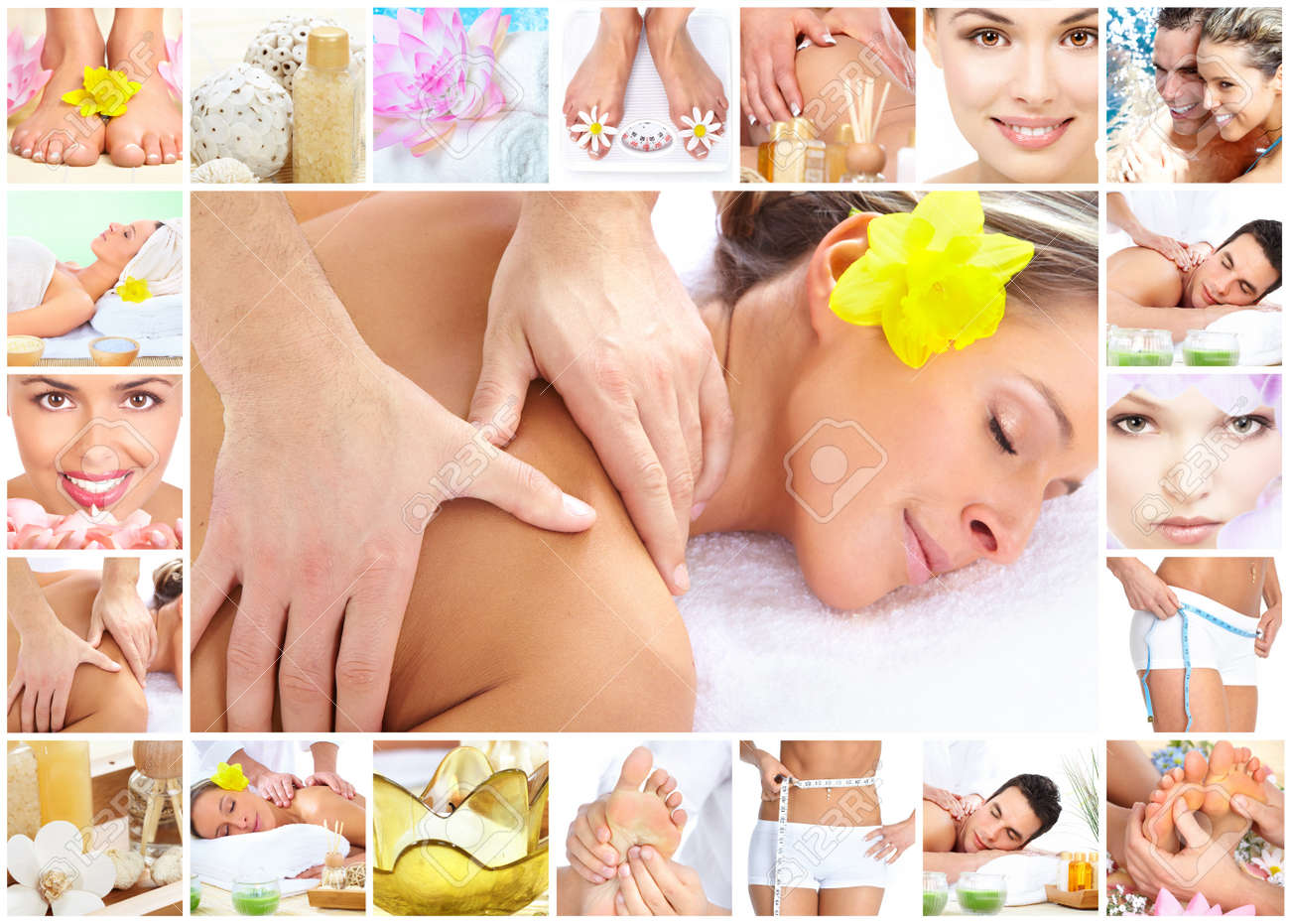 Spa massage collage background. Stock Photo - 11992315