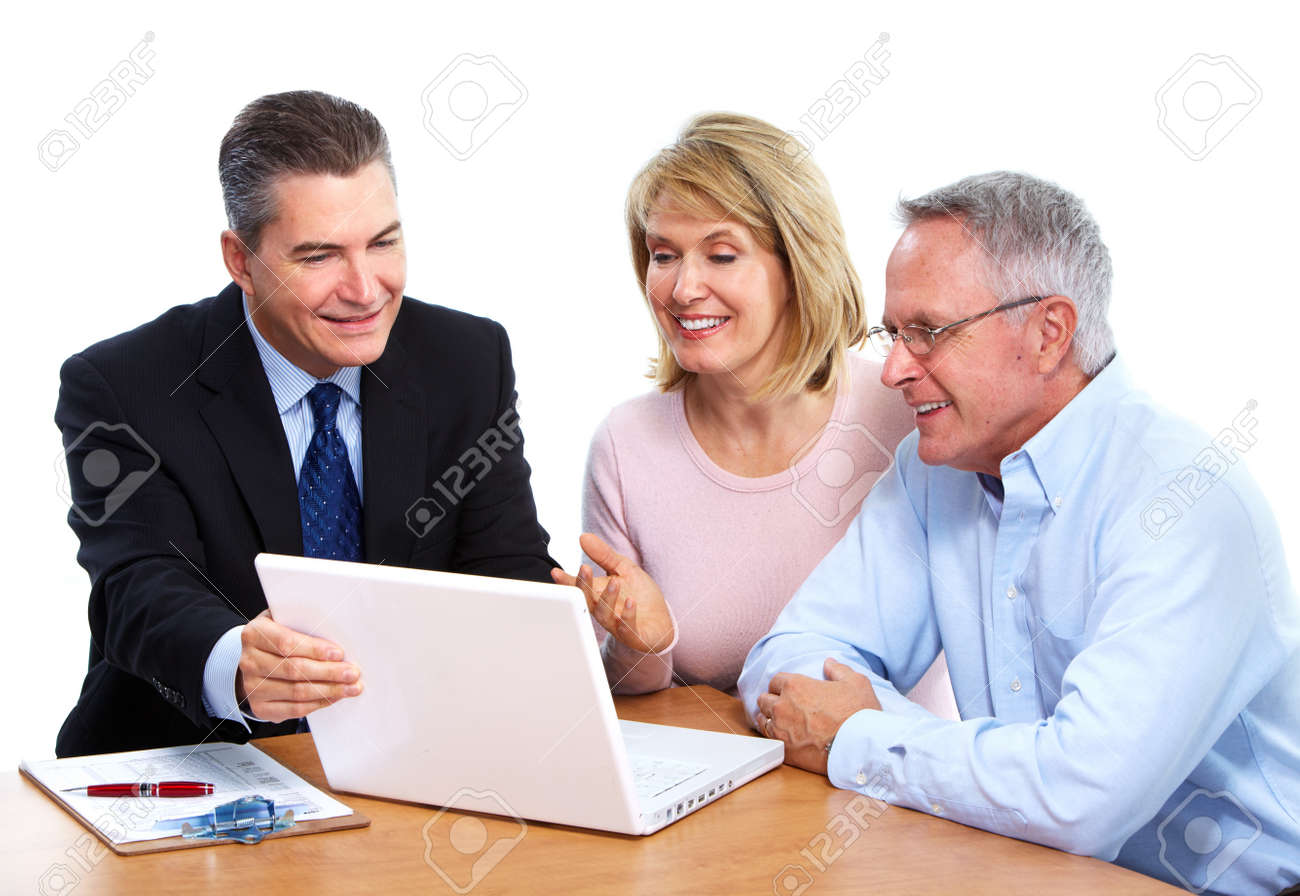 Senior couple with financial adviser. Stock Photo - 12137601