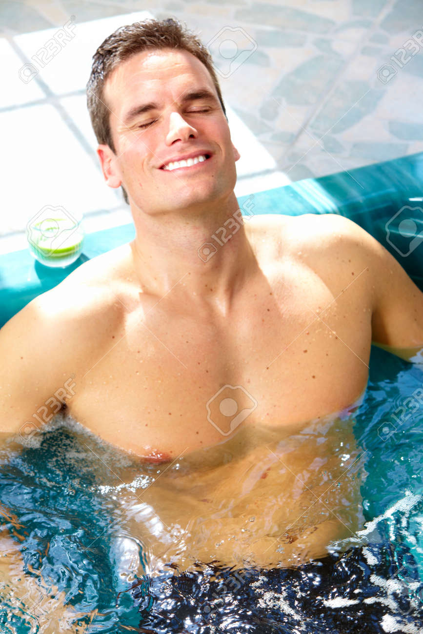 Man in hot tub. Stock Photo - 12137618