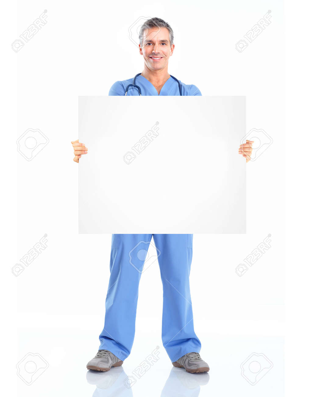 Doctor with banner. Stock Photo - 12378574