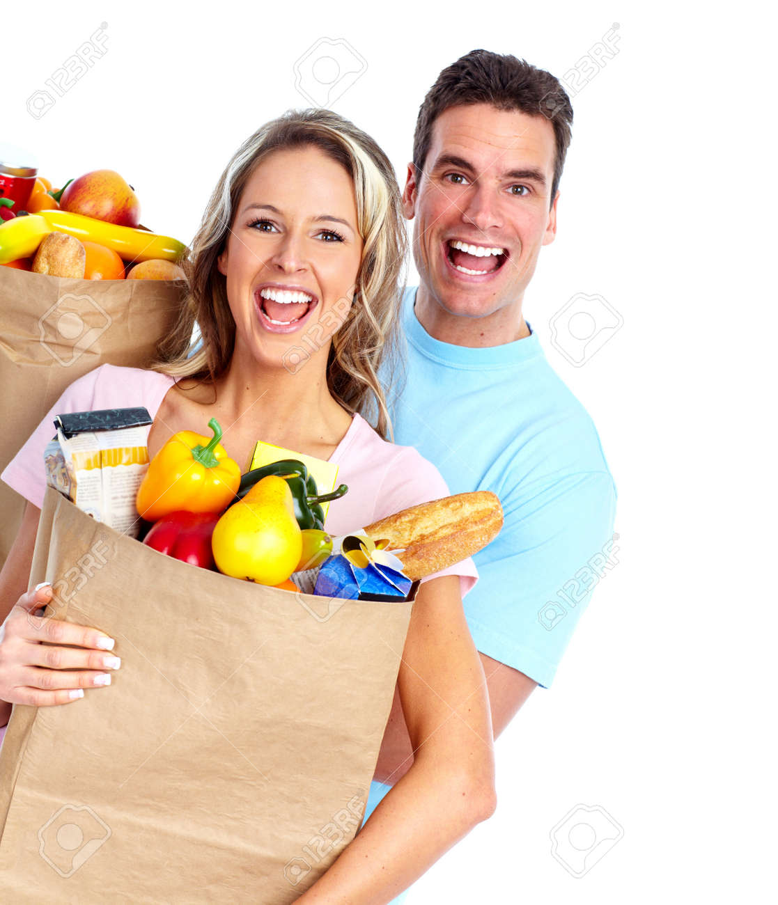 Couple with a grocery bag. Stock Photo - 12378939