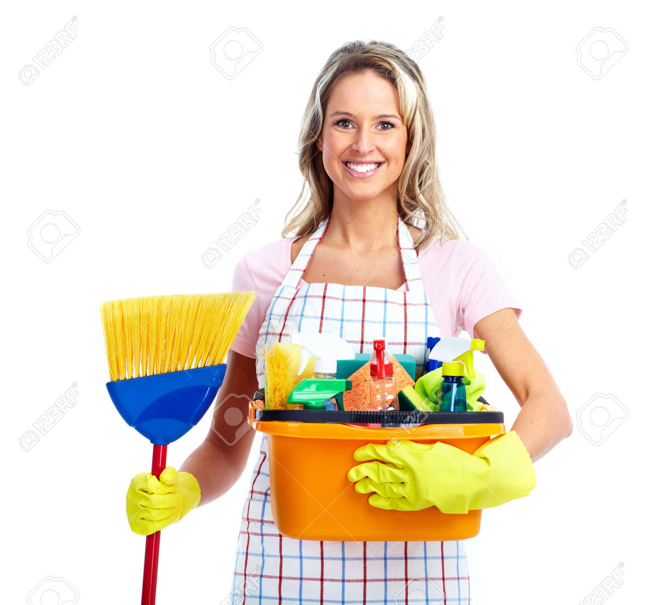 Young smiling cleaner woman. Stock Photo - 12378863