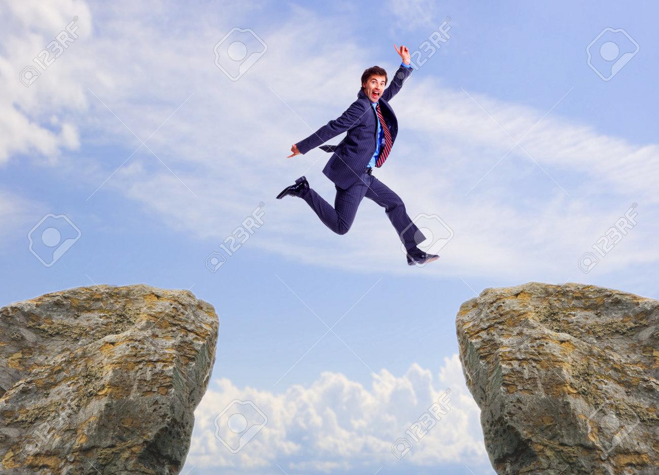 Happy jumping businessman Stock Photo - 12636972