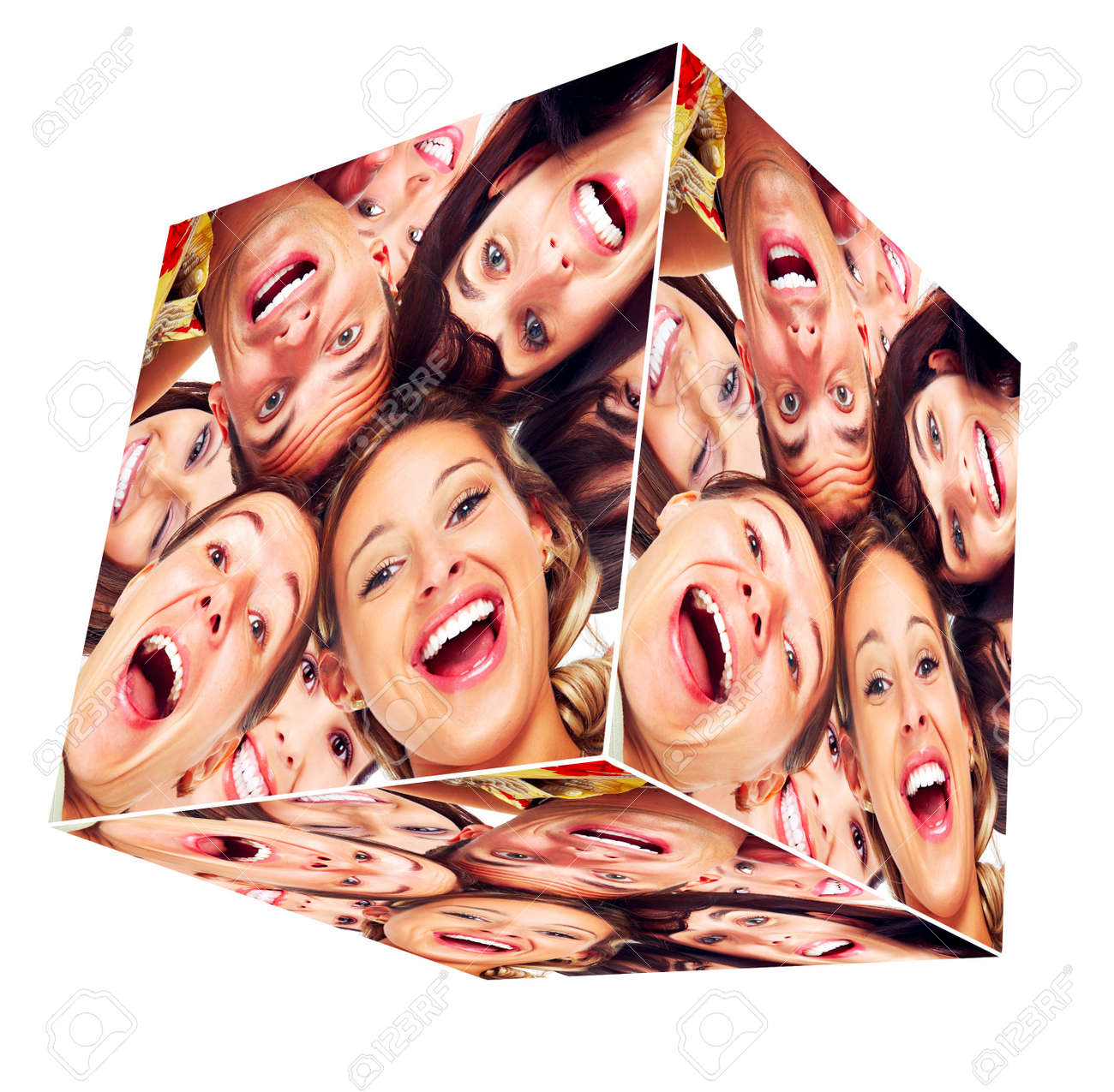 People smile cube collage Stock Photo - 13541296