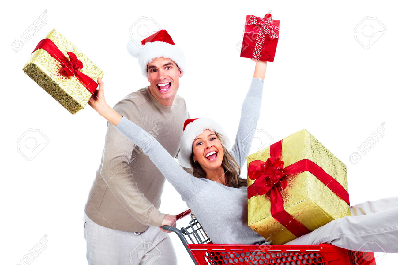 Christmas Gift In Cart Stock Photos. Royalty Free Christmas Gift ...