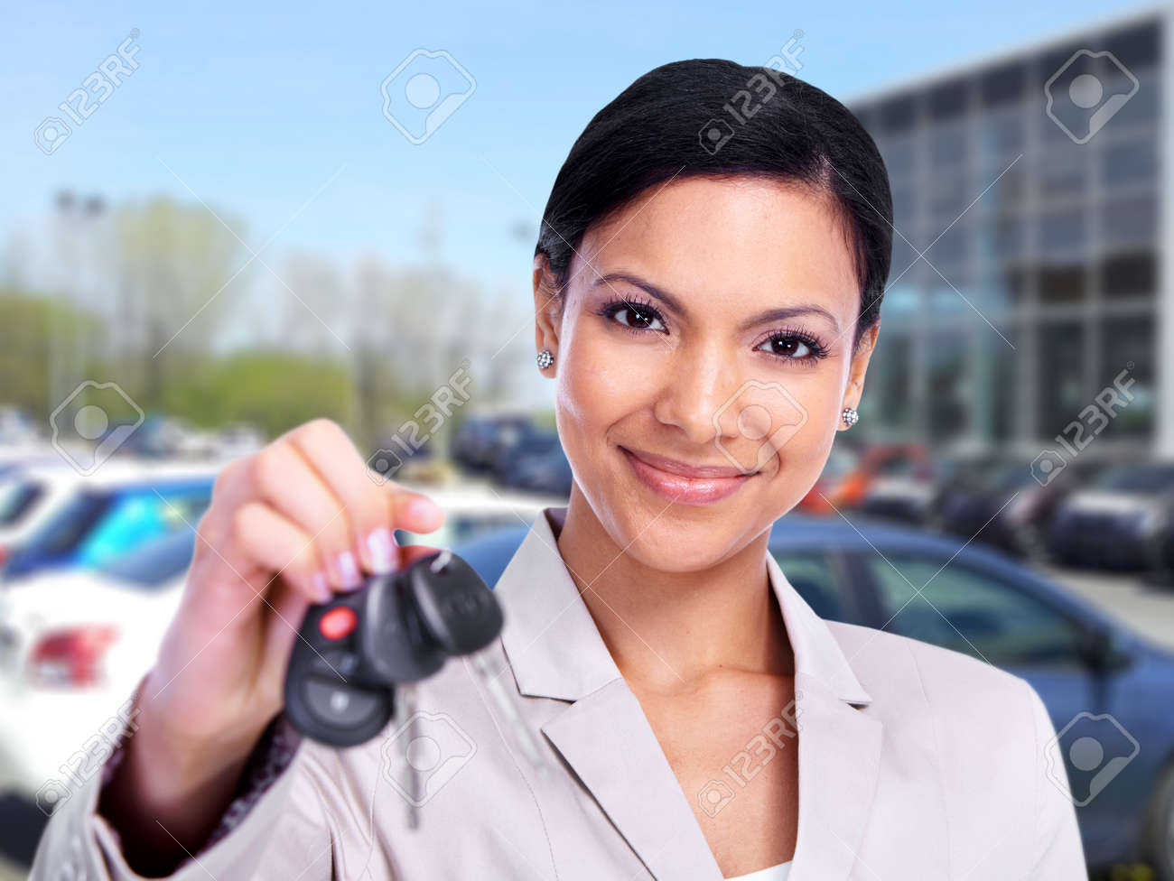 Woman with a Car key Stock Photo - 13821734