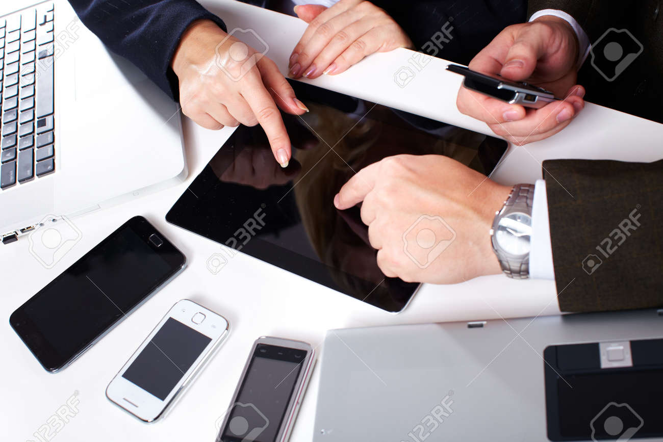 Business people group working with laptop Stock Photo - 15705879