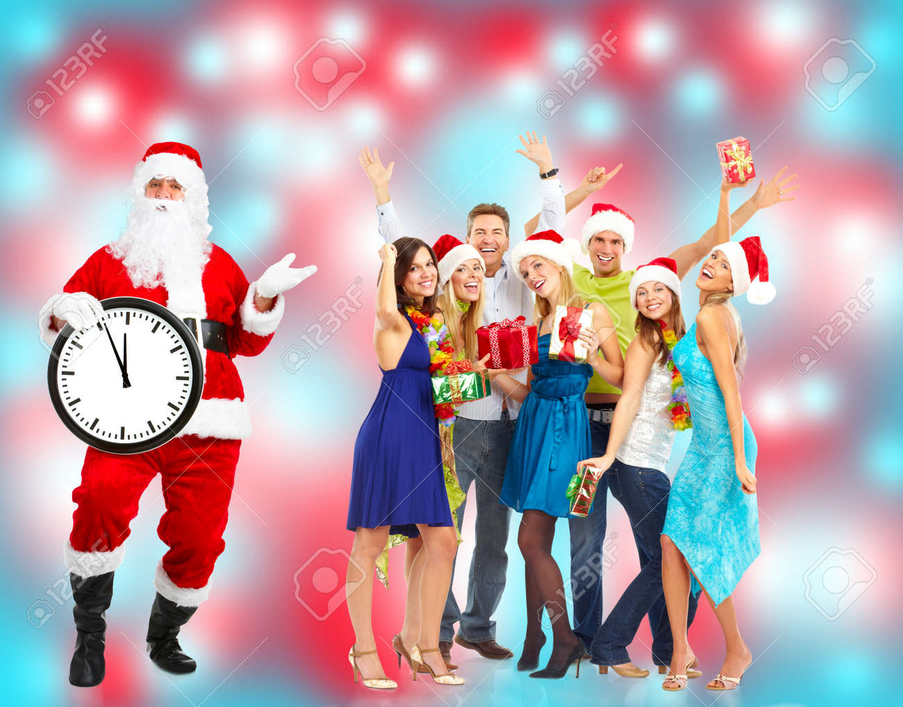 Christmas Santa and a group  of happy people Stock Photo - 16185232