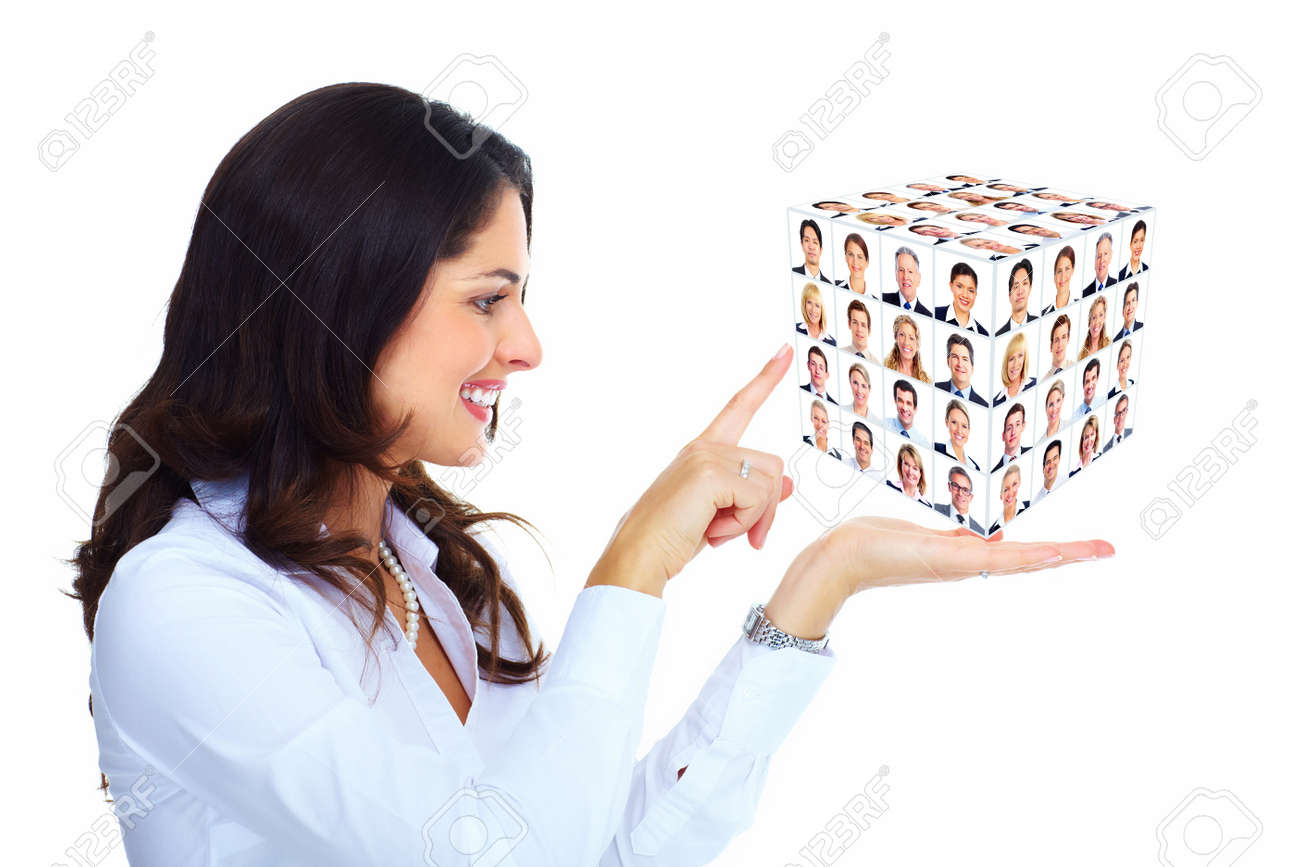 Business woman holding a cub collage Stock Photo - 16643012
