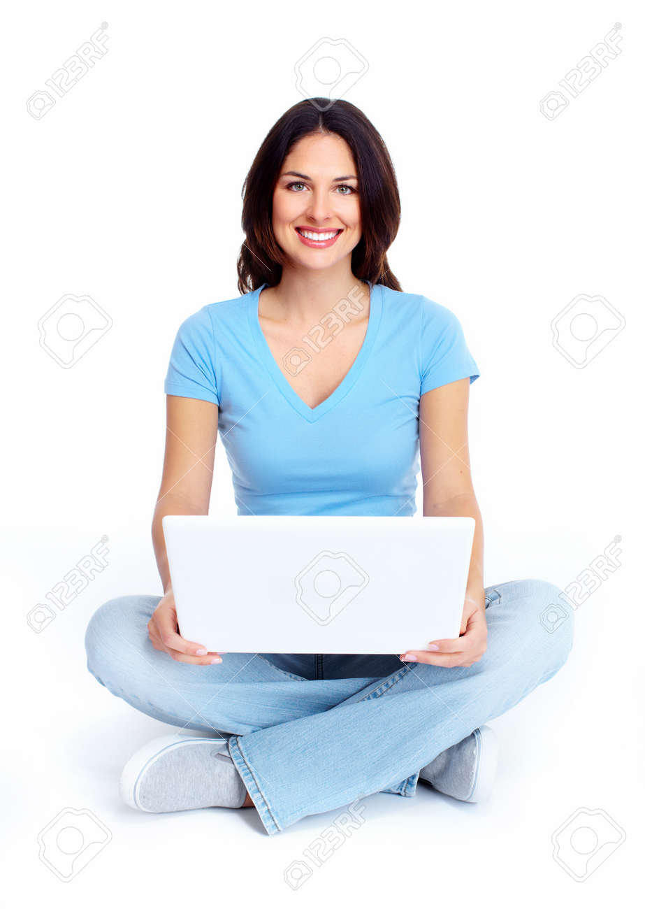 Woman with laptop computer Stock Photo - 16640960