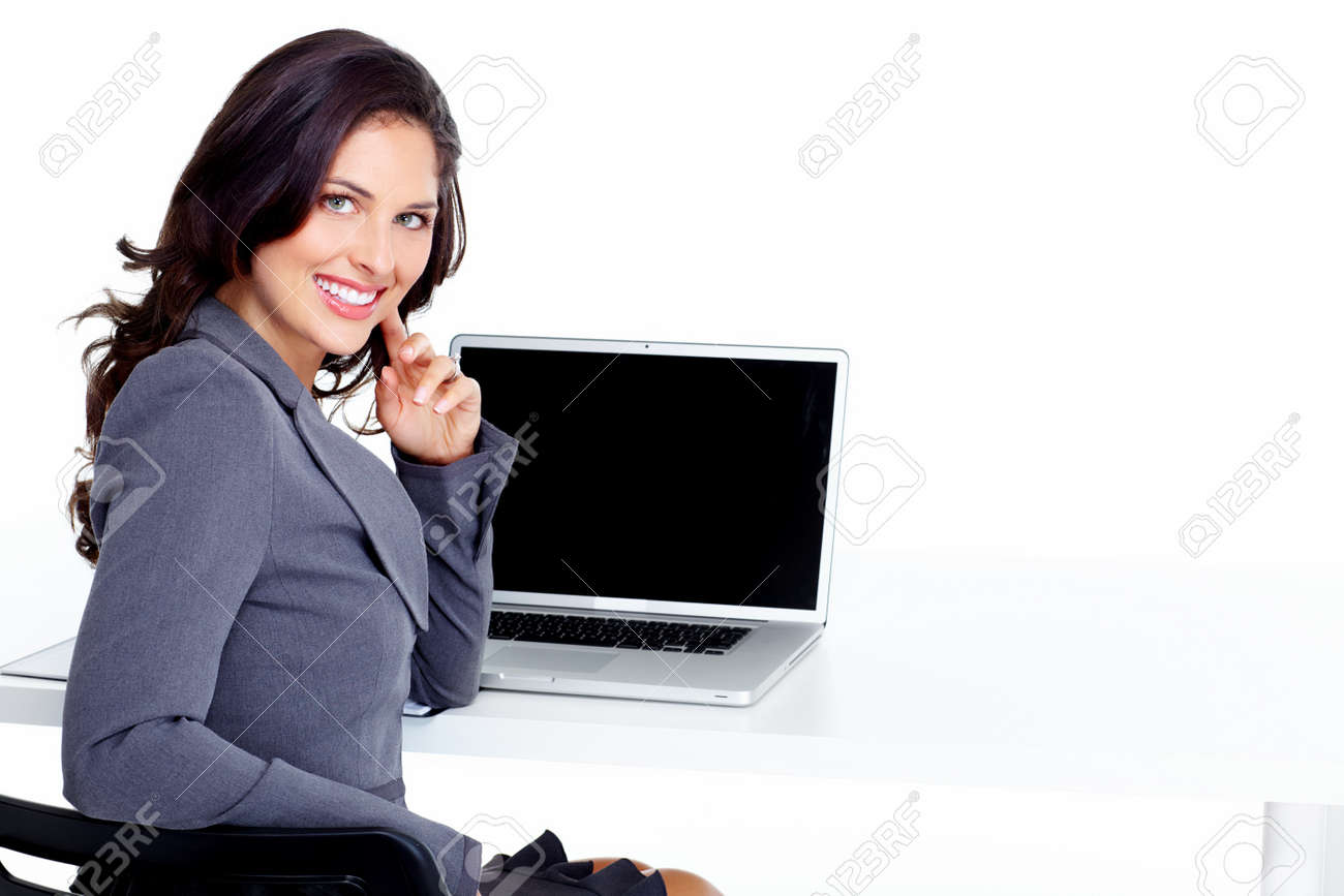 Business woman with laptop computer Stock Photo - 16890535