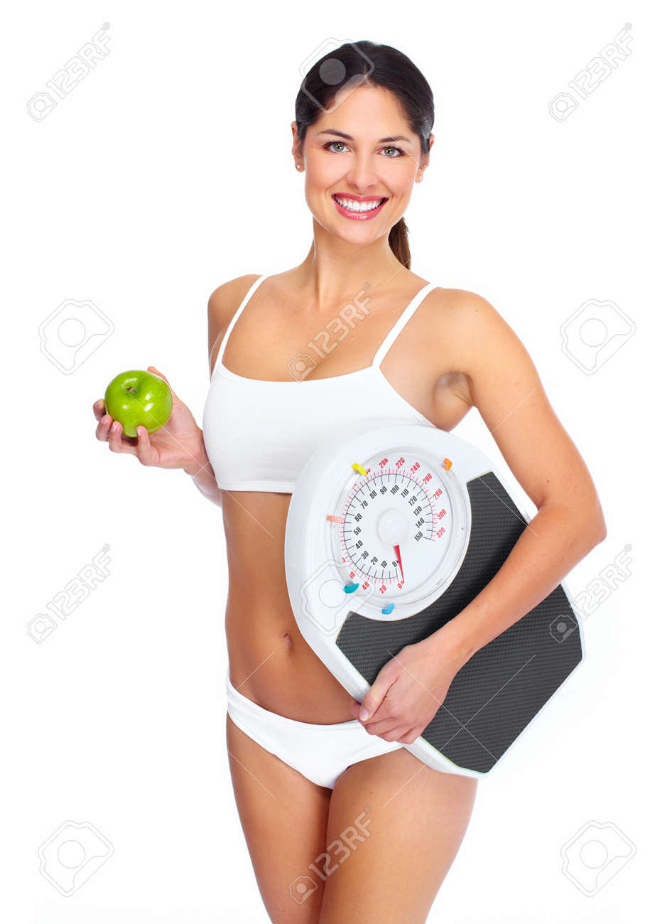 Beautiful young healthy woman. Diet. Isolated on white background. Stock Photo - 16958987