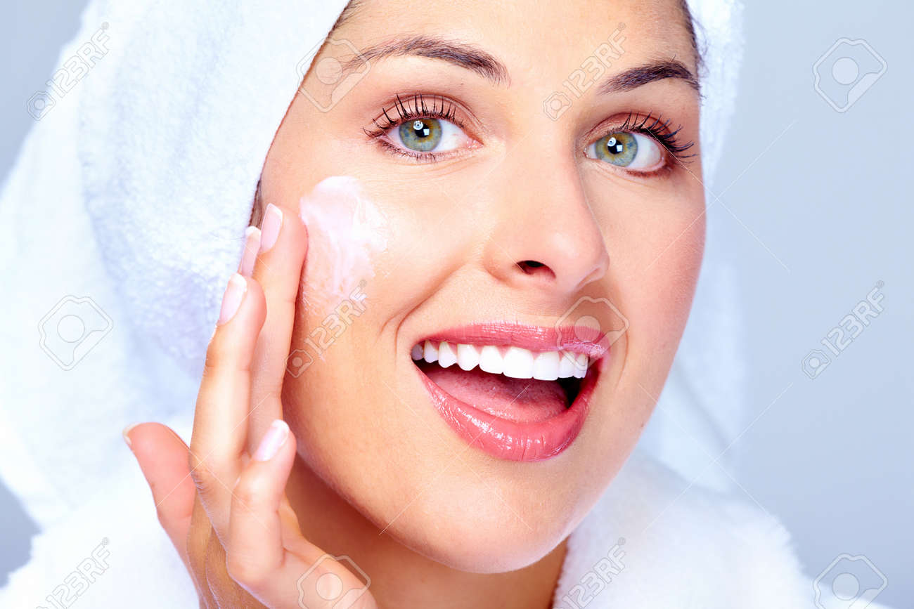Face of beautiful woman. Spa massage concept background. Stock Photo - 16959016