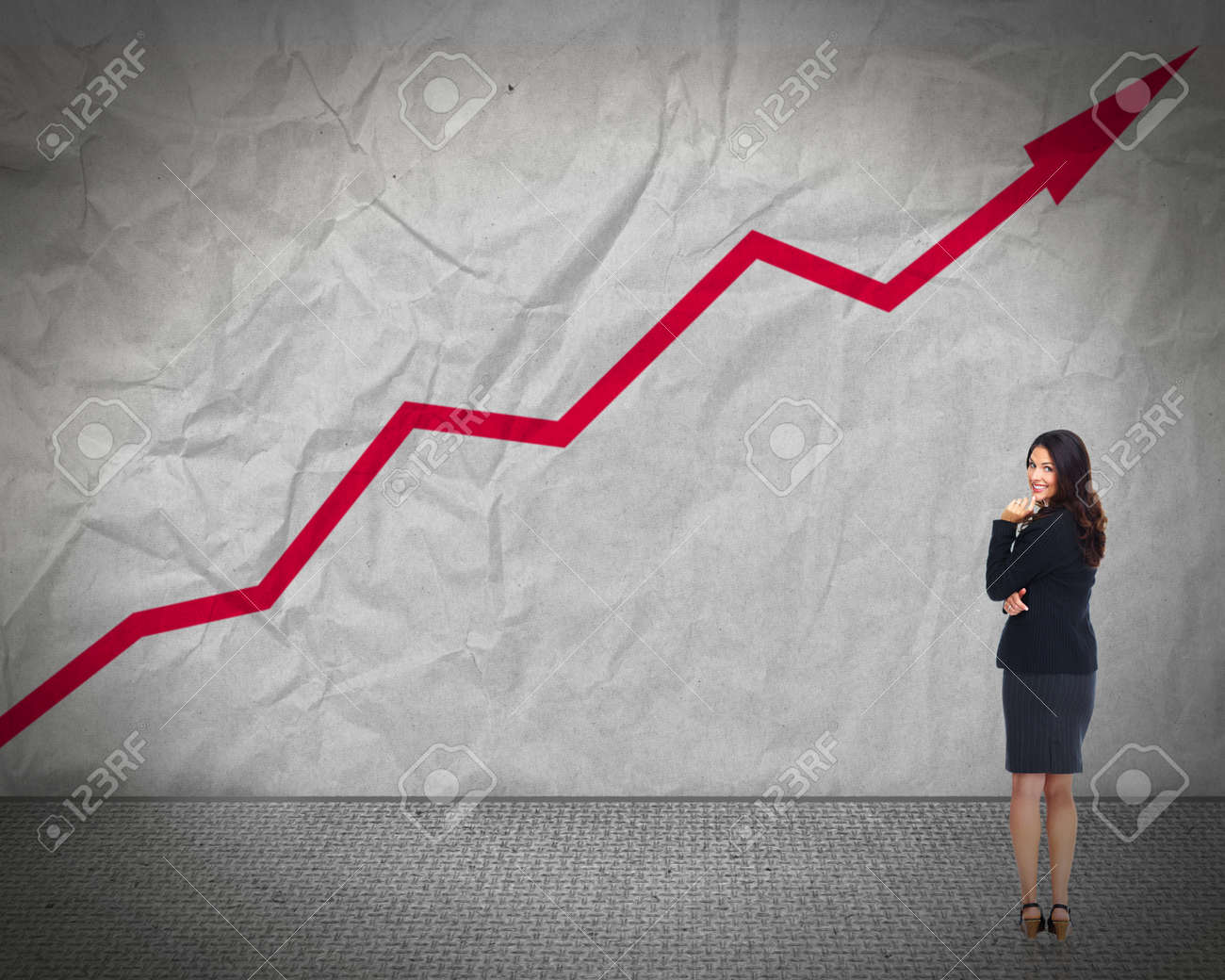 Business woman looking chart Stock Photo - 17244982
