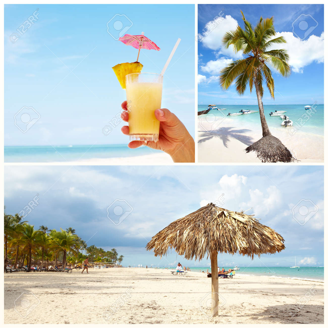 Exotic caribbean beach collage Stock Photo - 17249876
