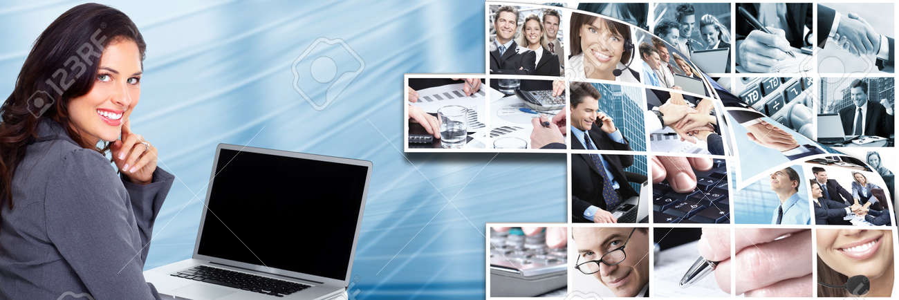 Business woman with laptop, computer Stock Photo - 17249877