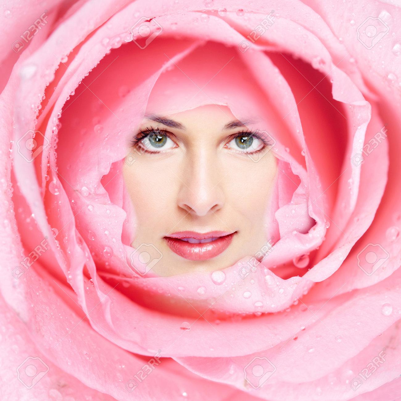 Beautiful woman face flower Stock Photo - 17287992