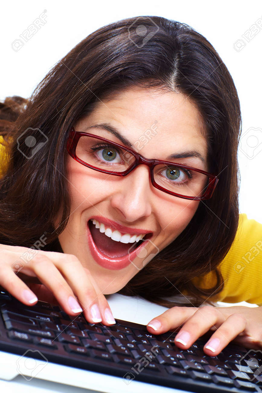 Business woman with laptop computer Stock Photo - 18388176